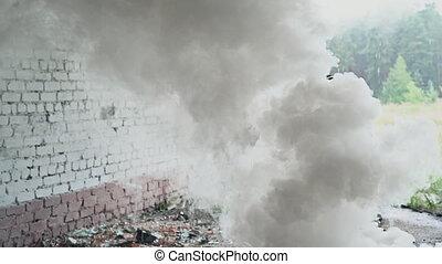 armé, abandonnés, homme, secteur, militaire, fusil, assaut, courant, par, bâtiment, fumée