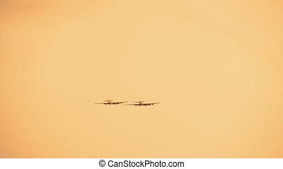 armé, coucher soleil, rouges, jets, combattant, fond, russe