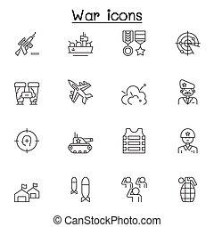 armée air, icônes, ensemble, cuirassé, bombe, soldat, contient, ligne, guerre, armée, avion, plus, vecteur, apparenté, icons., militaire, marine, tel