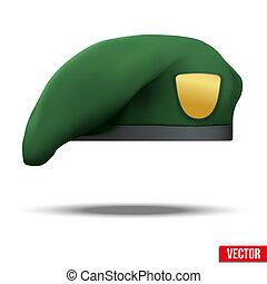 armée, béret, vert, forces, militaire, spécial