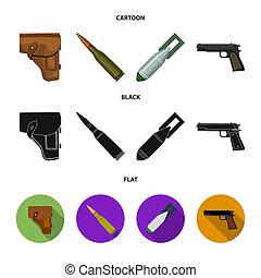 armée, dessin animé, ensemble, icônes, bombe, symbole,...