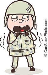 armée, fâché, illustration, cris, vecteur, dessin animé, homme