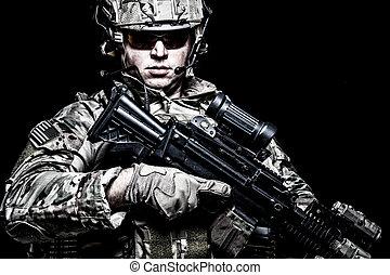 armée, fond, noir, nous, fusil, soldat