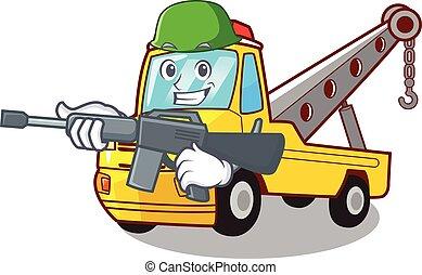 armée, remorquage, isolé, corde, camion, dessin animé