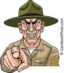 armée, soldat, ponting, bootcamp, foret, sergent