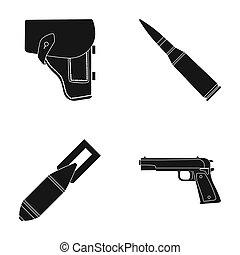 armée, style, ensemble, icônes, bombe, symbole, cartouche,...