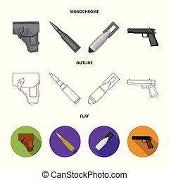 armée, style, ensemble, icônes, plat, symbole, cartouche,...