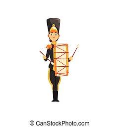 armée, tambour, illustration, uniforme, membre, soldat, vecteur, noir, instrument, fond, bande, militaire, blanc, musical