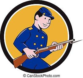 armée, union, baïonnette, soldat, fusil, cercle, dessin animé