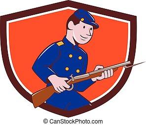 armée, union, baïonnette, soldat, fusil, crête, dessin animé