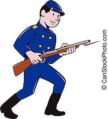 armée, union, baïonnette, soldat, fusil, dessin animé