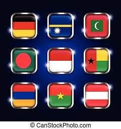 arménie, acier, ensemble, bangladesh, burkina, ), (, scintillement, quadrangulaire, boutons, verre, autriche, maldives, allemagne, faso, guinée-bissau, drapeaux, mondiale, nauru, frontière, indonésie