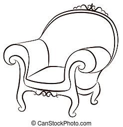 arm-chair, för, årgång, inre