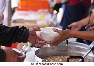 arm, concept, helpen, maatschappij, schenking, het voeden, elkaar