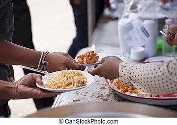 arm, concept, society., helpen, het voeden, elkaar, liefdadigheid