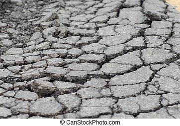 arm, cons, asfalt, schuldig, gesloopte, wegdek