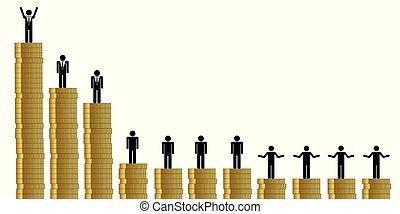 arm, financieel, pictogram, oneerlijk, rijk, tussen, verdeling