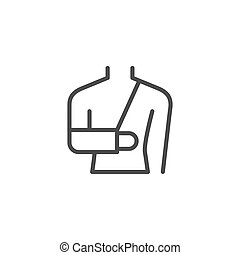 Arm fractures orthopedic cast line outline icon