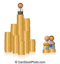 arm, geld, gezin, anders, man, ongelijkheid, rijk, inkomen, toren