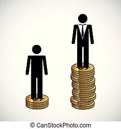 arm, geld, infographic, stander, rijk, toren, man