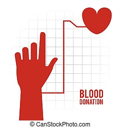 arm heart hand blood donation icon. Vector graphic
