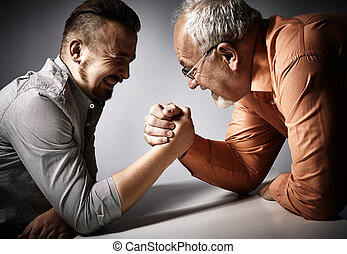 arm, mannen, worstelen, competition., twee