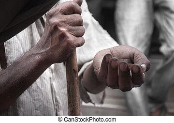 arm, man's handen, het bedelen, voor, geld, op de straat