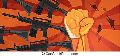 arm, militaer, revolution, faust, hand, symbol, retro, kommunismus, propaganda, plakat, stil