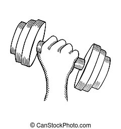 Arm muscle with dumbbell