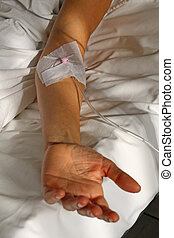 arm of the patient with a patch for the drip