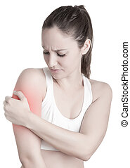 Arm Pain - Female with pain in her arm, isolated in a white...