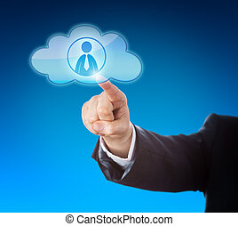 Arm Pointing At Knowledge Worker In Cloud Icon