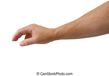 Arm Reaching with clipping path - Male arm reaching isolated...