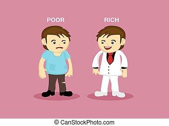 arm, rijk, spotprent, illustratie, man