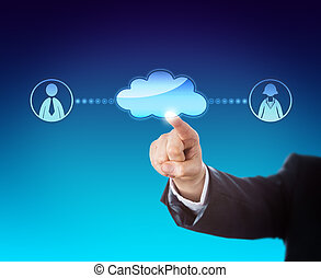 Arm in business suit is reaching out to touch a blank cloud icon connecting to a female and a male white collar worker to each side. Do place your copy or artwork in the void cloud! Blue background.