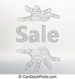 arm., vecteur, lattice., grand, vente, illustration, main, sale., maille, tenue, moléculaire, polygones, structural