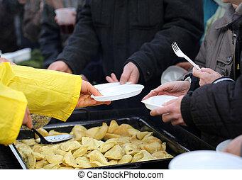 arm, voedingsmiddelen, warme, dakloos