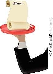 arm waiter - Arm of the waiter service restaurant menu