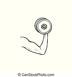 Arm with dumbbell hand drawn outline doodle icon.