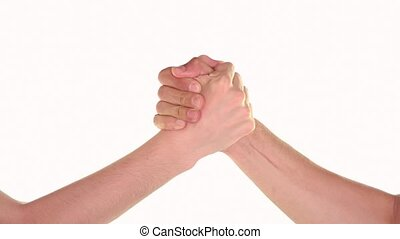 Arm wrestle and handshake over white background
