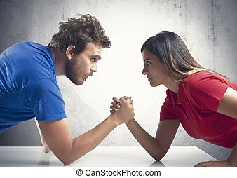 Arm wrestling between a couple - Arm wrestling challenge...