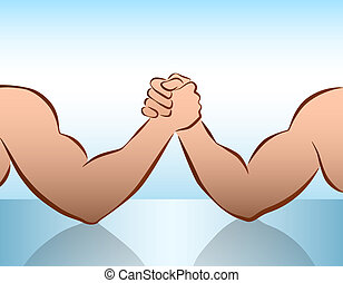 Arm Wrestling Blue - Muscular male arms in a wrestling...