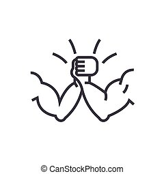 arm wrestling concept vector thin line icon, symbol, sign, illustration on isolated background