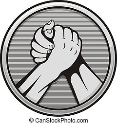 Arm wrestling icon - Two hands icon in arm wrestling, gray...