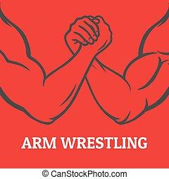 Arm wrestling illustration - Arm wrestling image, in linear ...