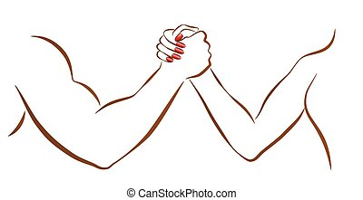 Arm wrestling of man and woman as a symbol for battle of the sexes or gender fight. Isolated vector illustration on white background.