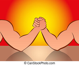 Arm Wrestling Red - Strong male arms in a wrestling ...