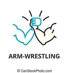 arm wrestling thin line icon, sign, symbol, illustation, linear concept, vector