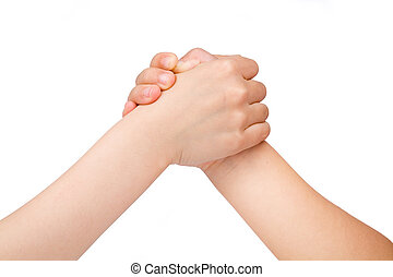 arm wrestling with white background