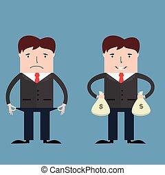 arm, zakenlieden, rijk